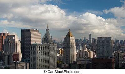 timelapse, 의, 더 낮은 맨해튼, 지평선, 에서, a, 높은, 유리한 점, 통하고 있는, a,...