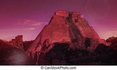 timelapse, 21, décembre, mexico., maya, uxmal, volonté, evénements, transformative, 2012., croire, ruines, produire, mayans