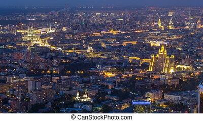 timelapse, aérien, observation, formulaire, sommet, après, business, plate-forme, vue, nuit, city., sunset., moscou, centre