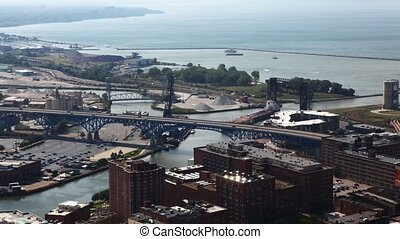 Timelapse aerial in Cleveland, Ohio - A Timelapse aerial in...