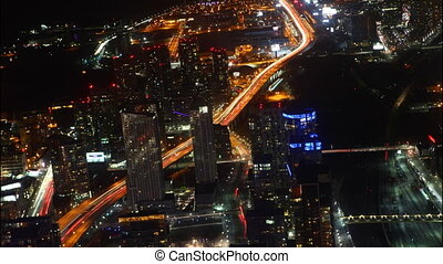 Timelapse aerial night view Toronto