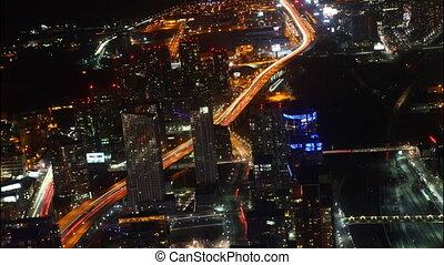 Timelapse aerial night view Toronto