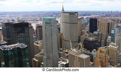 Timelapse aerial of midtown Manhattan in New York area