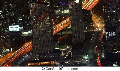 Timelapse aerial of traffic Toronto at night