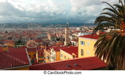 Timelapse Aerial View Over City of Nice France