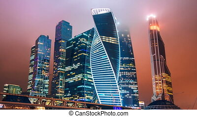 Timelapse and hyperlapse of Moscow city international business district at night