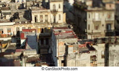 timelapse as evening shadow passes over havana skyline, cuba