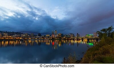 Timelapse at blue hour Portland OR - UHD 4k Timelapse movie...