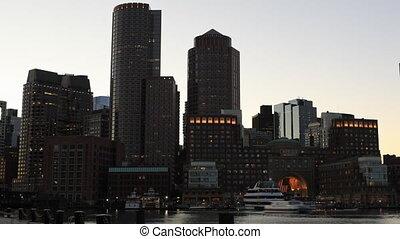Timelapse at dark of the Boston city center