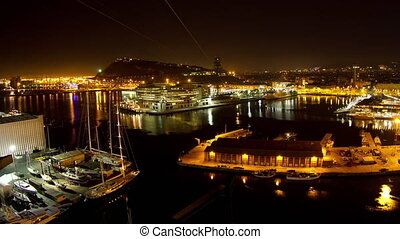 Timelapse at nigh of barcelona commercial harbour - Time ...
