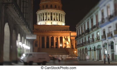timelapse at night of the capitolio building in the centre of havana, cuba