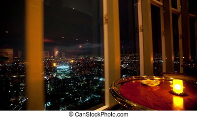 timelapse at night of the view from the rotating restaurant at the top of the world trade centre in mexico city