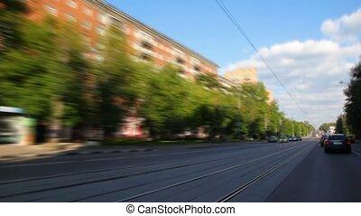 timelapse, autó, vezetés, alatt, város