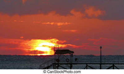 timelapse, beauté, sur, -, téléobjectif, mer, levers de soleil