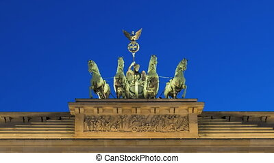 Timelapse Berlin Brandenburg Gate during twilight