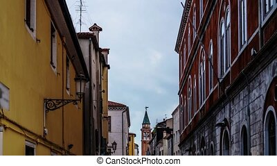 Timelapse between the houses of Chioggia