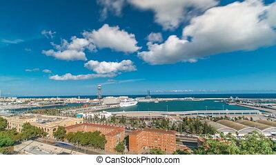 timelapse., câble, port, barcelone, horizon, voiture., marina, ferry-boat, port, vue