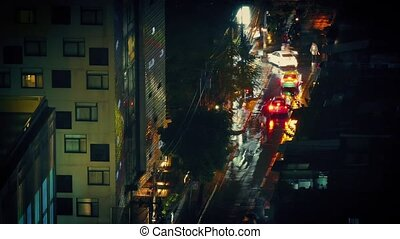 Timelapse Cars On Wet City Road