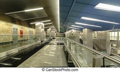timelapse, centre, centre, business, moderne, moscou, station, métro, russia., hyperlapse., delovoy