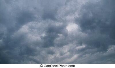 timelapse., ciel, nuages, orage, en mouvement