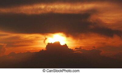 timelapse, ciel, nuageux, sombre, dramatique, coucher soleil, rouges