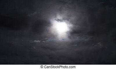 timelapse., ciel, par, nuit, sombre, mouvements, entiers, clouds., lune