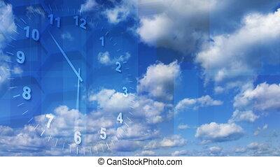 timelapse clock on sky background - timelapse cg clock and...