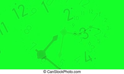 Clocks in transparency on a green background.