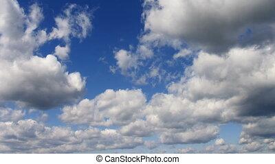 timelapse, clouds, на, лето, небо