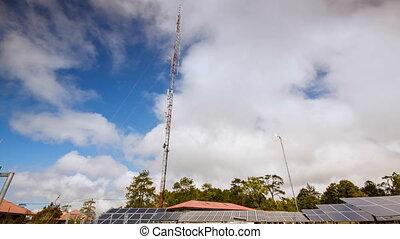 timelapse, cloudscape, sky., bleu, solaire, contryside, turbine, panneaux, vent