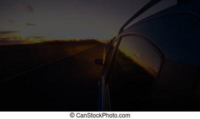 timelapse., conduite, voiture, dehors, autoroute, nuit, cabine, vue
