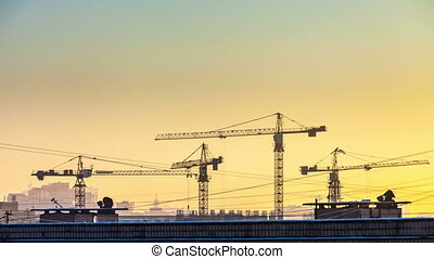 Timelapse construction cranes