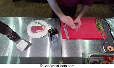 Timelapse Cooking ingredients: marinated meat,oil,vinegar,...