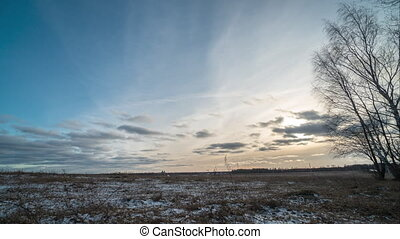 timelapse, coucher soleil, hiver