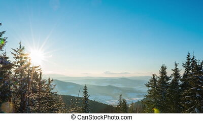 timelapse, coucher soleil, montagne, hiver