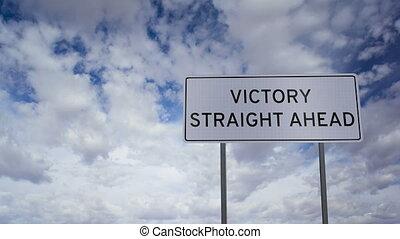 timelapse couvre, victoire, devant, signe
