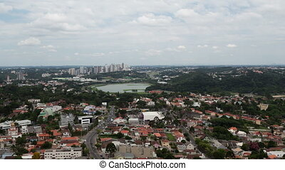 Timelapse Curitiba aerial view zoom