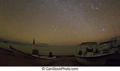 timelapse, de, estrelas, à noite, de, a, oceânicos, e, barcos, em, baja califórnia sur, méxico