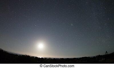 timelapse, de, estrelas, à noite, em, baja califórnia sur, méxico