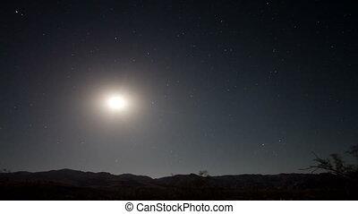timelapse, de, estrelas, à noite