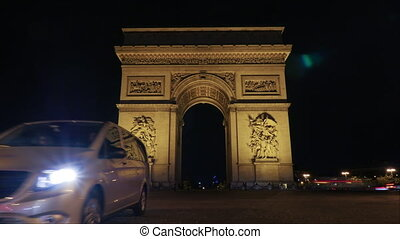 timelapse, de, tráfego, perto, arco triumphal, à noite