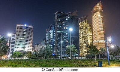 timelapse, dhabi, gratte-ciel, arabe, horizon, uni, emirats, abu, nuit