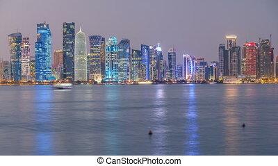 timelapse, doha, en ville, milieu, horizon, nuit, est, jour, qatar