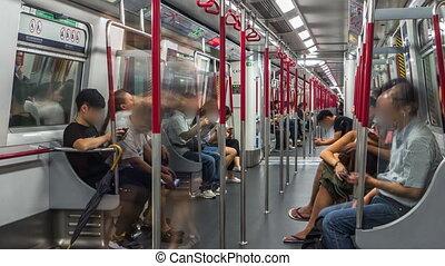 timelapse, draußen, metro, reiten, windows., blinken,...