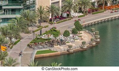 timelapse., dubai, promenade, aérien, arabe, dubai, front mer, marina, emirats, uni