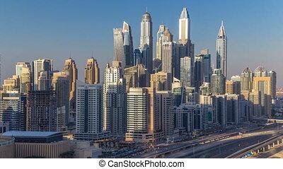 timelapse, dubai, uni, aérien, tours, arabe, coucher soleil, marina, pendant, emirats