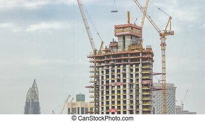 timelapse, dubai, uni, site, arabe, construction, emirats