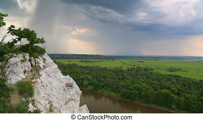 timelapse, -, eső, magaslat, horizont, folyó parkosít, ...
