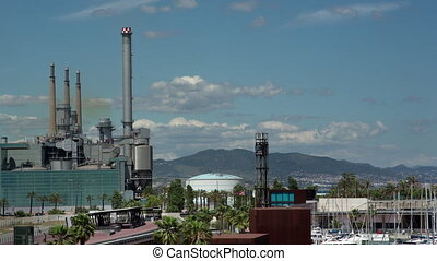 Timelapse footage of power station, Barcelona, Spain - Time ...