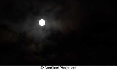 timelapse full Moon in clouds